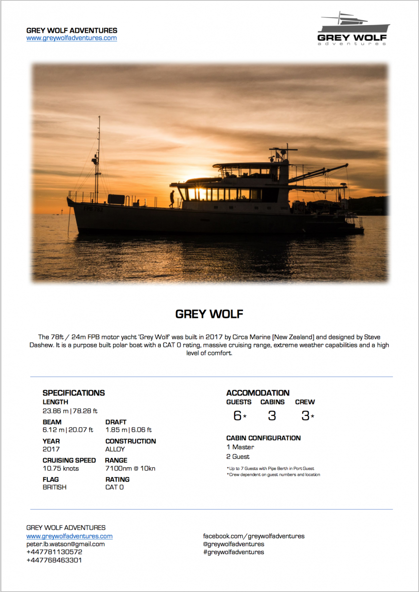 Grey Wolf Adventures Charter Specifications Page 1