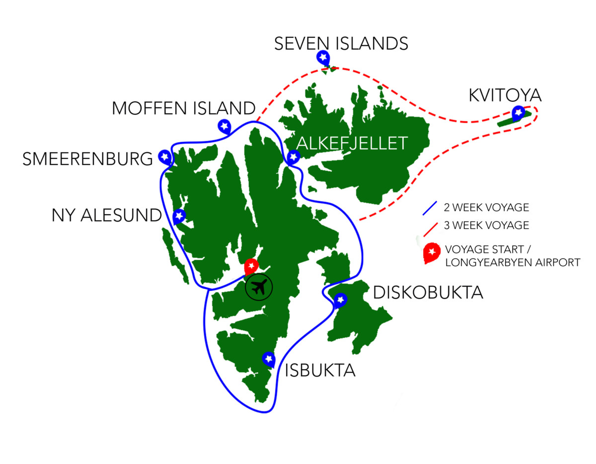 Svalbard Cruise Route Map for Expedition Motor Boat Grey Wolf.