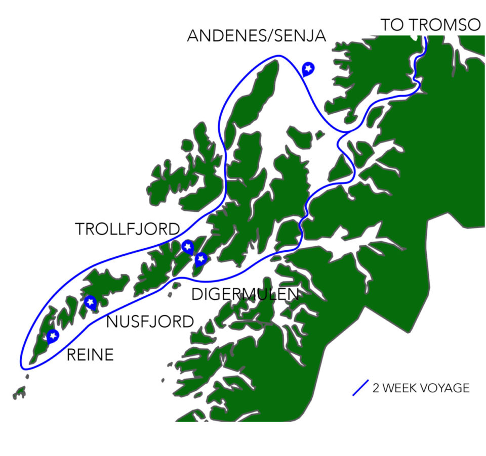 Grey Wolf Cruising Route for the Lofoten Islands, Norway.